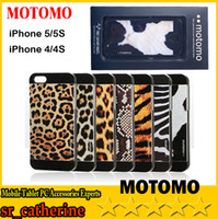 For Apple iPhone ABS+PC White 2014 new fashion Motomo Hard Case Back Cover For iPhone 4 4S 5 5S Leopard Tiger Zebra Print Design 50PCS DHL free shipping