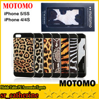 For Apple iPhone ABS+PC White 2014 new fashion Motomo Hard Case Back Cover For iPhone 4 4S 5 5S Leopard Tiger Zebra Print Design With beautiful retail packaging