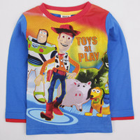 Spring / Autumn peppa pig clothing - 2014 New Arrival Autumn Children Boys Peppa Pig Long Cotton Lovely Printing West Cow Boy Tees Blouse Tops Kids Clothing ps A3198