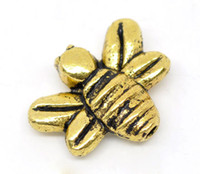 Wholesale Antique Gold Tone Bee Charms Beads x12mm Jewelry Findings