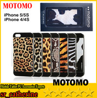 For Apple iPhone ABS+PC White HOT SELL-2014 NEW Motomo Hard Case Back Cover For iPhone 4 4S 5 5S Leopard Tiger Zebra Print Design With beautiful retail packaging DHL free
