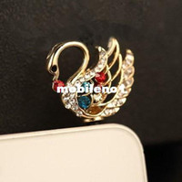 Earphone Jack Plugs 3.5mm iPhones/HTC/SUMSANG Min.order is $10(Mix order) Free Shipping New Cute Rhinestone Swan Cell Phone Plug Charms