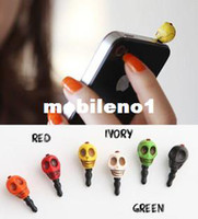 Earphone Jack Plugs 3.5mm red/green /orange/white/black/ Min.order is $10(mix order )free shipping!Fashion punk skull cell phone earphones dust plug chromophous earphones hole