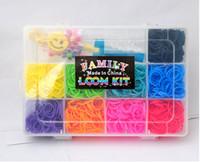 Wholesale Rainbow loom Family Box kits Transparent plastic box rubber bands colour S Clips Charm mini multi function loom hook