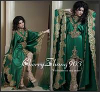Reference Images High Neck Satin 2014 Arabic Kaftan Evening Dresses Long Sleeves High Neck Gold Applique Lace Chiffon Green Abaya Dubai Evening Gowns No Pants Veil