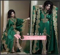 Reference Images High Neck Satin 2014 Arabic Kaftan Evening Dresses Long Sleeves High Neck Gold Applique Lace Chiffon Green Abaya Dubai Evening Gown No Pants Veil