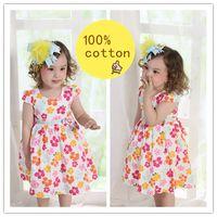 TuTu Summer A-Line 2014 Summer Fashion Korean Kids Princess 100% cotton Baby clothes cheap flower girl dress Children Dress Round Neck Short Sleeve 2761