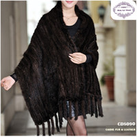 Wholesale CDS090 Hot Sale Europe Fashion Winter Knitted Big Genuine Mink Fur Shawl Can Be Used As Scarf