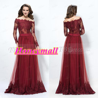 Model Pictures Jewel/Bateau Tulle Superb Off-The-Shoulder A-Line Long Sleeves Lace Button Evening Dress 2014 New Prom Formal Dresses Burgundy Party Gown