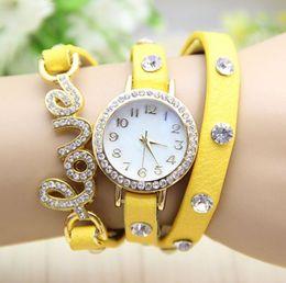 2017 new love New 2015 fashion wrap around bracelet leather gold LOVE crystal diamond women rhinestones watches quartz watch 50PCS DHL free shipping cheap new love