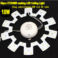 Wholesale 2pcs high brightness smd warm white white W LED ring magnetic plate to replace W LED ceiling light ring of old D tube