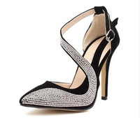 Wholesale Western Design Dress Shoes Stiletto Rainstone High Heel cm Beige Black Color prs New S5