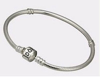 Wholesale All Size mm Pandora Sterling Silver Plated Bracelet Chain with Barrel Clasp Fit European Beads