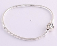 Wholesale DIY mm Silver Plated Bracelet Chain with Barrel Clasp Fit European Beads
