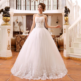 Best selling Tulle stain Ball Gown Wedding Dress 2015 Romantic Sweetheart Crystal Bridal Gowns Floor-length