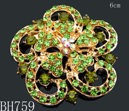 Wholesale Women Gold plated Zinc alloy crystal rhinestone flower Brooches costume jewelry Free shipping 12pcs lot mixed color BH759
