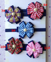 Wholesale 30pcs color Baby England Grid Flower Headbands Girl inch Stripe Ribbon Bows Headbands Children s Hair Accessories Headwear Headdress