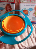 Wholesale EMS Kid proof bowl Inner bowl rotates degrees Dishwasher safe Universal Baby gyro Bowl Rotating Flying Saucer Toy K07787