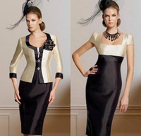 Crew Neck attractive pictures - Chic Modern Attractive Sheath Column Square Neckline Knee Length jacket Pleat Flower s Taffeta Mother of the Bride Dresses