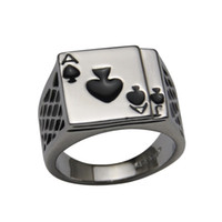 With Side Stones Men's Anniversary Free Shipping Cool Men's Jewelry Chunky 18K White Gold Plated Black Enamel Spades Poker Ring Men