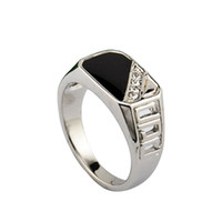 With Side Stones Men's Anniversary Size 8-11 Free Shipping 2014 Latest Design Men Jewelry 18K White Gold Plated Black Enamel Man Fashion Ring With CZ