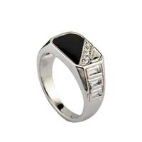 Wholesale Size Latest Design Men Jewelry K White Gold Plated Black Enamel Man Fashion Ring With CZ