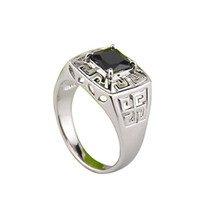 With Side Stones Men's Engagement Size 11.12 Fashion New 18K White Gold Plated Black Stone Ring For Men