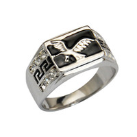 With Side Stones Men's Party Fashion Vintage Cool 18K White Gold Plated Red Black Enamel & Stone Eagle Rings For Men