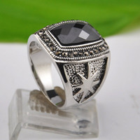 With Side Stones Men's Anniversary High Quality Antique Silver Vintage Jewelry Black Crystal Male Ring With Stone