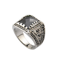 With Side Stones Men's Anniversary Size 8-10 Free Shipping 18K White Gold Plated Black Stone Ring For Man Fashion