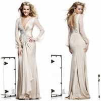 Reference Images V-Neck Chiffon 2014 Sexy Deep V Neck Long Sleeve Backless Evening Dresses Zuhair Murad Dress Evening Gowns Sheath Chiffon Bead Pleat Woman's Skirt DH003