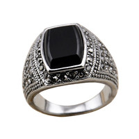 With Side Stones Men's Anniversary Size 7-10 Free shipping cool jewelry 18k white gold plated male ring man with black stone