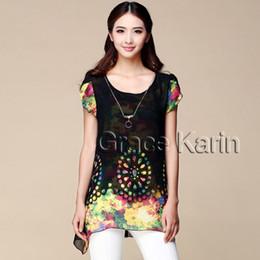Wholesale Occident Women Short Sleeve Crew Neck Chiffon Tops Size XS S M L XL CL5456
