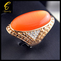 Wholesale 2014 New Mens Opal Rings Rose Gold Plated CZ amp Big Orangle Opal Rings For Women
