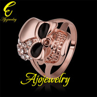 Wholesale Size New Skull jewellery K Rose Gold Plated Enamel Skull Accessories Ring For Women