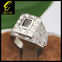 With Side Stones Men's Engagement SIZE 9-12 Free Shipping 18K White Gold Plated Black Stone Ring For MEN