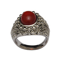 With Side Stones Women's Party Free Shipping Latest 18K White Gold Plated Black Red Rare-Earth Glass Stone Vintage Women Rings