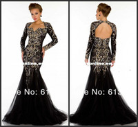 Wholesale Sexy Black Long Sleeve Mermaid Evening Dresses Backless Lace Appliques Beads Crystal Tulle Party Pageant Gowns Tulle Floor Length Prom