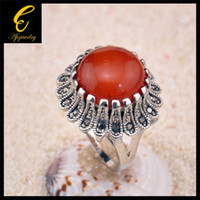 With Side Stones blue stone ring - K White Gold Plated Red Dark Blue Stone Ring