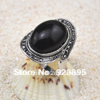 With Side Stones Women's Party Size 7-9 Free Shipping Black Stone Ring 18K White Gold Plated Retro Style Ring For Women
