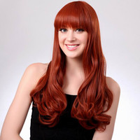 Wholesale New Arrival MAYSU Long Wavy Wig Women Orange Red Curly Full Hair Wig With Neat Bangs
