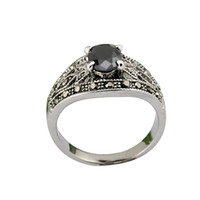 With Side Stones Women's Anniversary Size 7-9 Free Shipping 4 Prong Setting Vintage 18K White Gold Plated Black Stone Ring