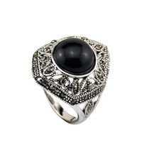 With Side Stones Women's Anniversary Size 7-9 Free Shipping Vintage 18K White Gold Plated Black Stone Ring