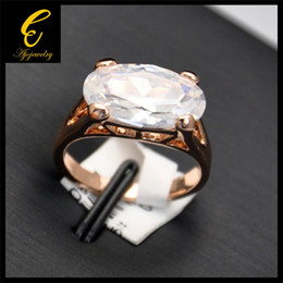 2014 New Arrival Wedding Jewelry Rose Gold Plated Big Zircon Engagement Rings For Women Men