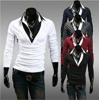 Men Cotton Polo 2014 new fashion men's slim cotton lapel-collar split joint color long sleeve T-shirt 5 color 8011
