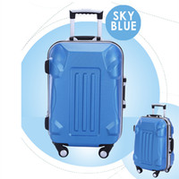 Wholesale 2014 fashion style hot selling high quality portable trolley luggage square and strip type pattern large capacity waterproof