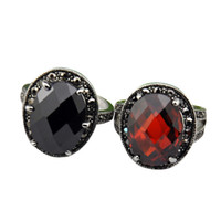 With Side Stones Unisex Engagement #6-9 Free Shipping Retro Jewelry 18K White Gold Plated Dark Red Black Stone Ring