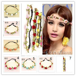 Wholesale Headband for Women Flowers Braided Leather Elastic Headwrap for Ladies hair band Assorted Colors Hair Ornaments hairb