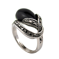With Side Stones Women's Party Size6-9 Free Shipping Vintage Jewelry For Women Latest 18K White Gold Ring Black Stone