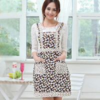 Wholesale Fashion canvas aprons Korean version of the lovely thick dust printing double princess aprons Tian Yuanqing new floral g